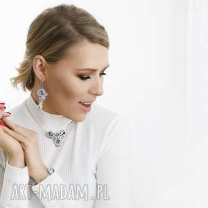 """Srebrne eleganckie kolczyki sutasz z kryształami Swarovski. Kolekcja """"Little black dress"""""""