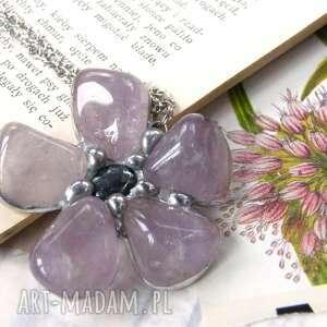 Wisiorek z łańcuszkiem: kwiat ametystu naszyjniki witrazka