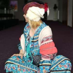 Czapka damska patchworkowa kolorowa zimowa ciepła handmade