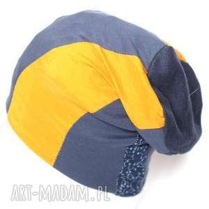 czapka patchworkowa damska ciepła dresowa - czapka, dzianina, patchwork, etno, sport