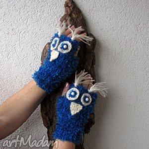 sowy niebieskie - rękawiczki - sowy, rękawiczki, mitenki, mankieciki