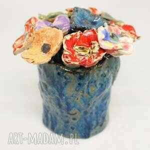 Piękny wyjątkowy komplet kwiaty ceramiczne 10szt i wazon