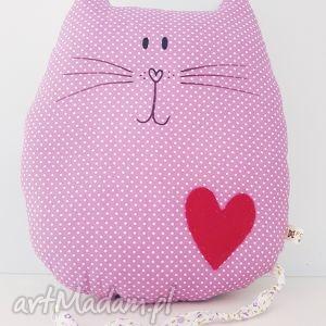 dwustronny kotek podusia przytulaczek - ,kot,kotek,serduszko,bawełna,cat,wrzosowy,