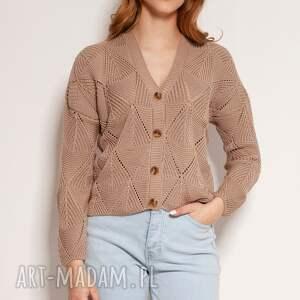 ażurowy sweter na guziki - swe143 mocca, guziki, cardigan