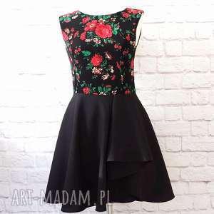 Czarna sukienka z falbaną folk góralska, sukienka, folkowa, wesele, folk, ludowa