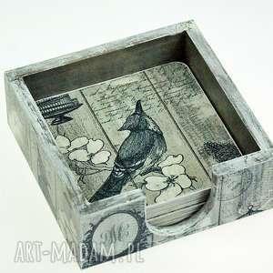 podkładki pod kubki- grey bird, podkładki, podstawki, pod, kubki, ptaki, pudełko