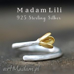 925 srebrny pierścionek Lilie II , 925, srebro, lilia, bicolor, natura, elegancja