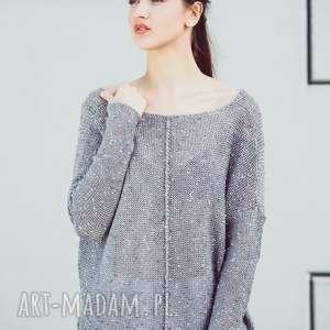 luźny sweter z dużym dekoltem, damski, sweter, oversize