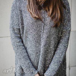 Szary melanżowy sweter, szary, melanż, wełna