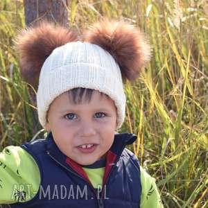 czapka 2 pompony merynos dziecięca - wełniana, dziecięca, zimowa, ciepła