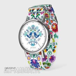 zegarki zegarek - ptaszki folkowe, niebieskie folk biały, nato