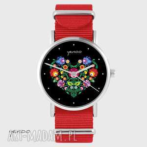 Prezent Zegarek - Serce folkowe, czarne czerwony, nato, zegarek, bransoletka, nato