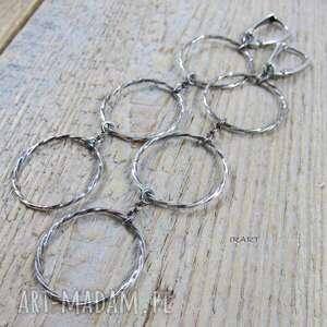 Koła - długie kolczyki 358 irart srebro, oksydowane