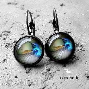 koliberki- kolczyki wiszące z grafikami , folkowe, letnie, lekkie, kolorowe, ptaki