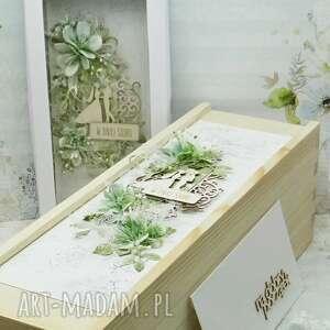 Papierowa P? Komplet ślubny kartka pudełko na wino koperta