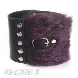 bransoleta skórzana futro purpura ze sprzączką, futro, futerko