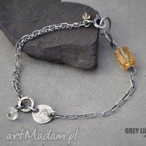 Bransoletka mini z cytrynem grey line project srebro, cytryn
