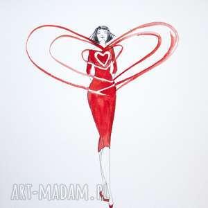 POLE SERCA akwarela artystki plastyka Adriany Laube, akwarela, serce, miłość