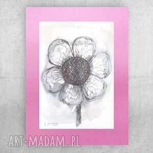 oryginalny rysunek z kwiatkiem, ładna grafika do sypialni, minimalizm obraz