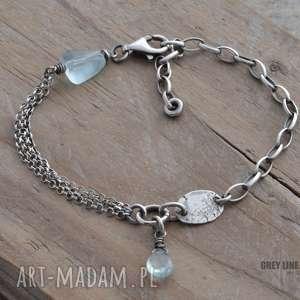 Bransoletka mini z akwamarynem, srebro, akwamaryn
