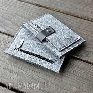 portfele portfel filcowy - szary męski, portfel