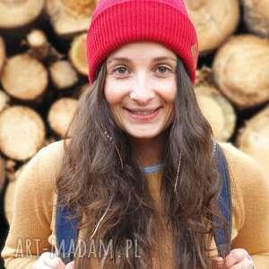 hand-made czapki wywijana dwustronna logo z ekoskórki czerwony rosso