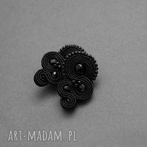 czarne klipsy sutasz, sznurek, eleganckie, wiszące, wieczorowe, małe, delikatne