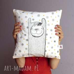 poduszka z szaloną lamą stacey, jasiek, lama, poduszka, prezent, malowana, kropki
