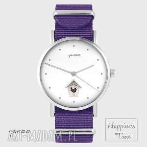zegarek - domek dla ptaków fioletowy, nato, zegarek, bransoletka