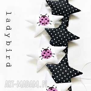 LADYBIRD pink - girlanda, biedronka, gwiazdki, ladybird