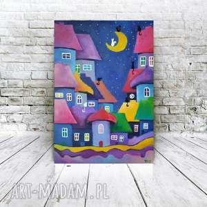 bajkowe miasteczko - obraz akrylowy formatu 30/40 cm, akryl, miasteczko