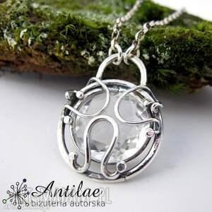 Delikatny naszyjnik z kryształem górskim, kryształ, górski, srebro,