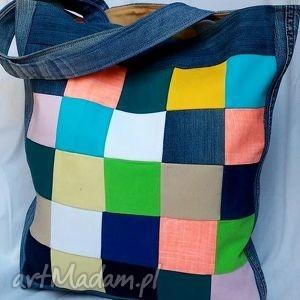 torba z jeansu kolorowa szachownica patchwork, torba, torebka jeans, recykling