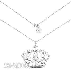 Srebrny naszyjnik z dużą koroną - ,naszyjnik,łańcuszek,modowy,trendy,srebro,korona,