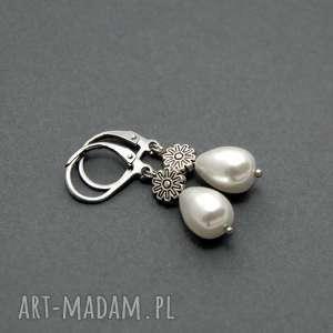 kolczyki z perłą seashell, perełka, delikatne, wiszące, eleganckie, małe, długie
