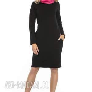 Sportowa sukienka z kominem i kieszeniami, t248, czarny różowy