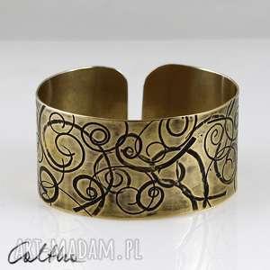 zawijasy - mosiężna bransoletka, bransoleta, szeroka, mosiężna, złota