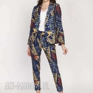spodnie cygaretki, sd119 liście granat, spodnie, eleganckie