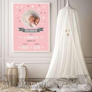Prezent Różowa METRYCZKA ze zdjęciem A4., metryczka, różowa, ozdoba, prezent