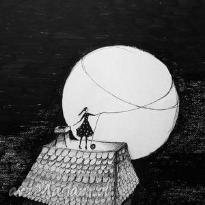 dom rysunek piórkiem artystki plastyka adriany laube - ilustracja, grafika, pełnia