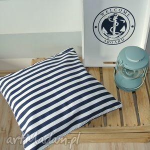 Poszewka na poduszkę w stylu marine - paski, poduszka, marine, marynarska