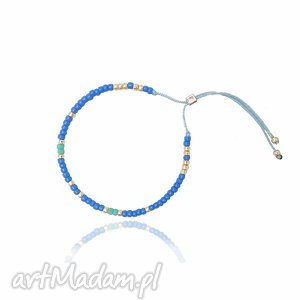 handmade bransoletka minimal - blue and gold