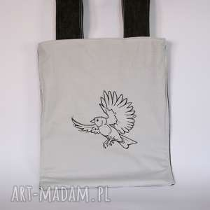 torba haftowana - odlotowy wróbel, torba, ramię, zakupy