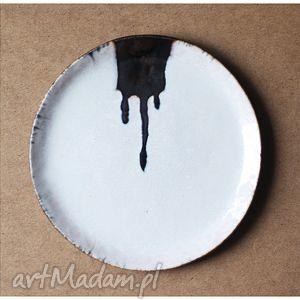 ręczne wykonanie ceramika talerz artystyczny z zaciekiem