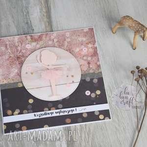 kartka z baletnicą - dla-dziewczynki, urodzinowa, życzenia, z-baletnicą