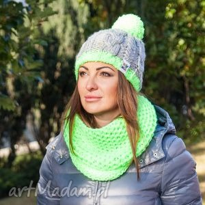 czapka my choice 3 - zima, handmade, pompon, ocieplana, włóczka