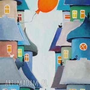 pomarańczowy balonik-obraz akrylowy formatu 30/60cm, balonik, domki, obraz