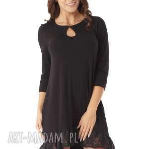 sukienki sukienka tunika oversize z koronką czarna