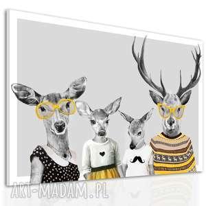 obraz na płótnie - 120x80cm rodzina jeleni, rodzice, córka i syn 02354