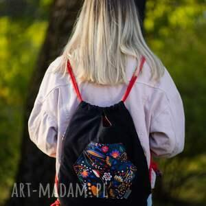 handmade worko-plecak prawiek folkowe kwiaty
